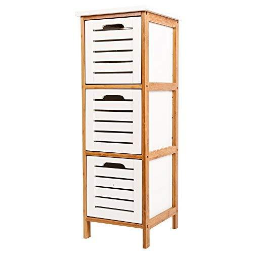 ZRI Bamboo Korb-Kommode aus Holz mit 3 Geschlossenen Schubladen Aufbewahrung Kommode Garderoben Schrank für Flur Schlafzimmer Wohnzimmer, Weiß.