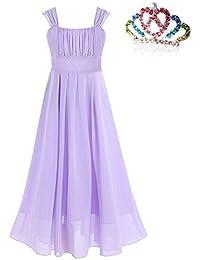 MODETREND Niñas Princesa Vestidos Largo Gasa de Tutu Niñas Elegante Vestido de Ceremonia Novia Boda Fiesta y Cumpleaños