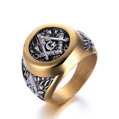 WLXW Edelstahlring, Männer und Frauen Freimaurer Ring Symbol G Templer, Nordic Vintage Religiöse Amulett Diamantring, Gute Zukunft, 08