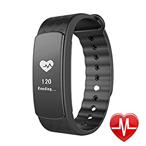 LINTELEK Fitness Tracker d'Activité Cardio Smart Bracelet Connecté Sport Fitness Montre Cardio Montre Connectée Sport Etanche IP67 Bluetooth 4.0, Tracker Sommeil Montre Podomètre Bracelet Intelligent Fréquence Cardiaque Alertes Appel SMS SNS, Pour Android iPhone