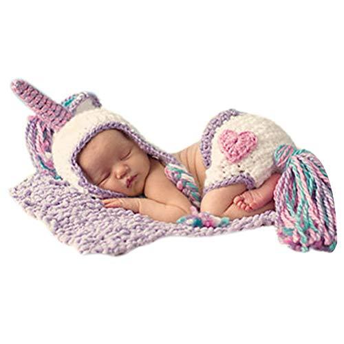 Kostüm 1 Ding Das - ARAUS Baby Fotoshooting Kostüm Strickmütze Einhorn Unisex Fotografie Outfits 0-3 Monate