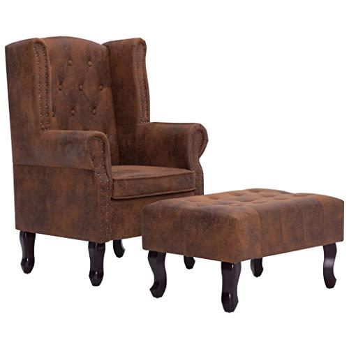 mewmewcat Chesterfield-Sessel und Fußhocker Relaxsessel Liegesessel Fernsehsessel TV Wohnzimmersessel Hocker Braun 76 x 47 x 40 cm -