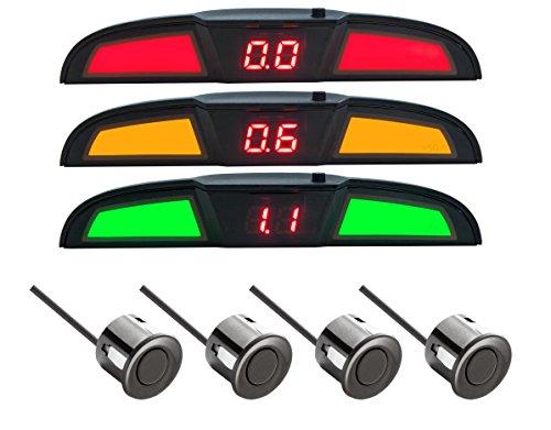 VSG® PRO Multi-Farbdisplay Einparkhilfe mit eingebauten Pieper inklusiv 4 Sensoren in schwarz für hinten