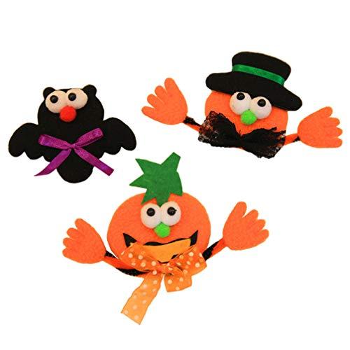 Toyvian 3 LED-Brosche für Halloween, Fledermaus-Brosche, Kürbis-Brosche, Halloween, Party-Geschenke, für Halloween, Herbst, Ernte, Party-Dekoration