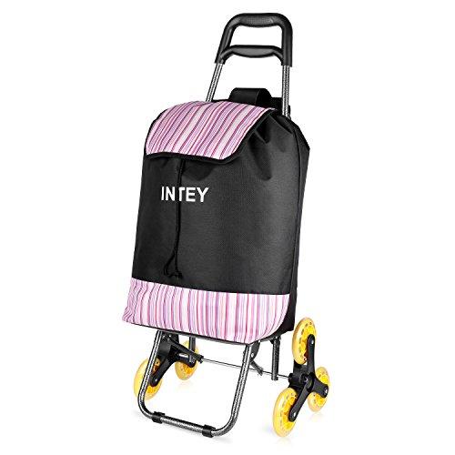 INTEY Einkaufstrolley, Einkaufswagen, Einkaufsroller, klappbarer Stuhl, abnehmbare Tasche, und einfach auf Treppen zu verwenden, 38 L