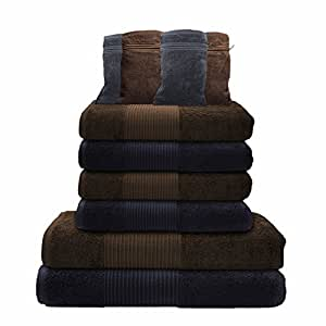 Liness 10 tlg Handtuch-Set 4 Handtücher 50x100 cm 2 Duschtücher Badetücher 70x140 cm 4 Waschhandschuhe 16x21 cm 100% Baumwolle grau-anthrazit braun