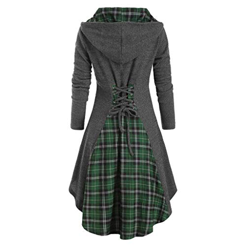Damen Kleid Dress Oberseiten Pullover Sweatshirt, LeeMon Langarm Plaid Pullover Unregelmäßiger Rand Knopf Rollkragen Tartan Tunika Sweatshirt Dünne Tops