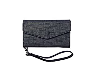 ATV Premium Quality PU Leather GREY Pouch Case Flip Cover With Detachable Strap For Lava Iris X1 Grand