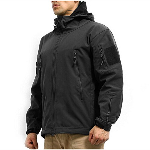Reebow Gear Militaer Taktische Softshell Jacke outdoor Fleece Kapuzenjacke Schwarz XL