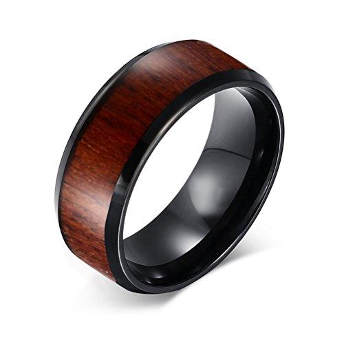 Vnox da uomo 8mm in carburo di tungsteno KOA Comfort Fit Anello per matrimonio a fascia con inserti in legno, colore: nero, taglia: N 1/2x 1/2, tungsteno, 19, cod. TCR-022-9