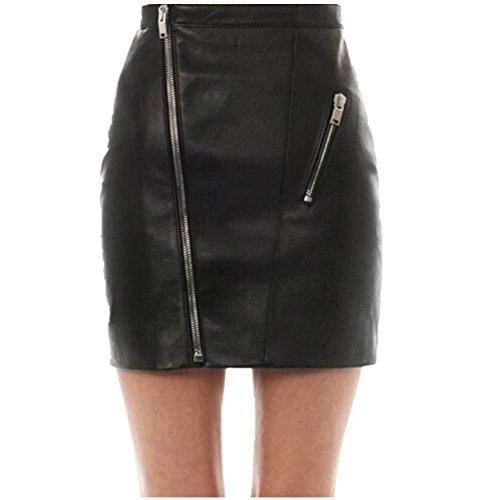 Paket Hüftröcke Damen, DoraMe Frauen PU Leder Reißverschluss Minirock Kunstleder Hohe Taille Gefaltete Kurze Rock Skater Ausgestellte Rock (Schwarz, L) (Neuheit-damen-rock)