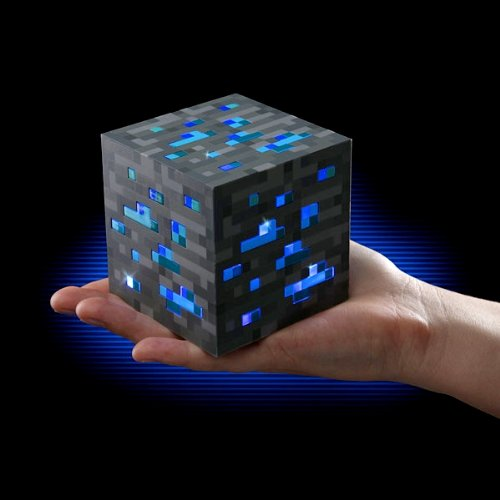 MINECRAFT 312   LAMPARA MINERAL CON LUZ PARA PLAYSETS  COLOR AZUL