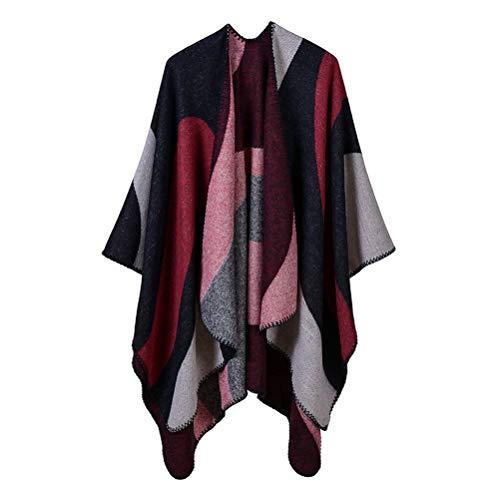 Damen Poncho Habe Gestrickt Kaschmir Überdimensionalen Decke Kap-Schal (One Size, Wellenmuster/schwarz - rot)