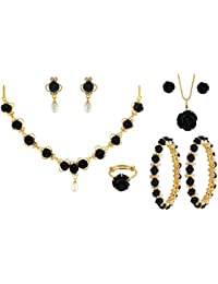 Nisa Pearls Black Synthetic Coral Combo Set Of Necklace Set, Pair Of Bangles, Ring, For Women