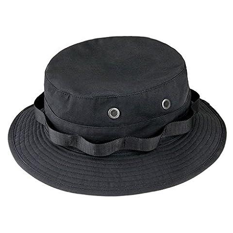IamRTOM Anti-scraper round hat, breathable fisherman hat, fishing hat, Alpine hat , black