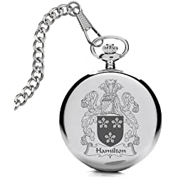 Hamilton Coat of Arms / Family Crest Pocket Watch with Gift Box