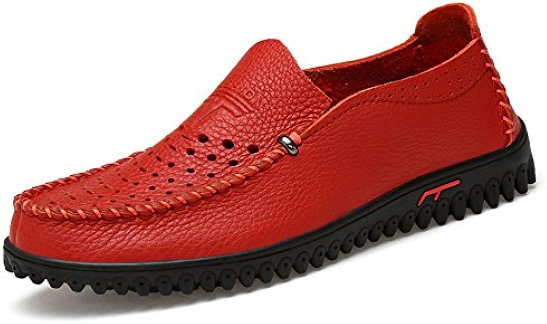 Liuxiaoqing Sommer Herren Leder beilaumlufige Müßiggaumlnger Intelligente Mokassin Boots Flache Schuh Schuhe