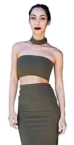 Long White Halter Dress - Alaix Robe 2 pièces avec dos nu