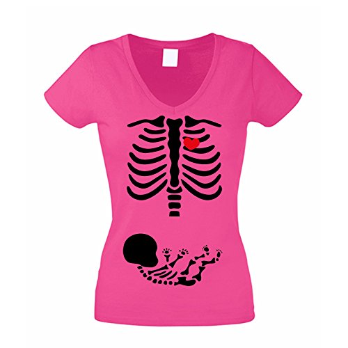 Damen V-Neck T-Shirt Halloween Skelett Mama & Baby, Pink, ()