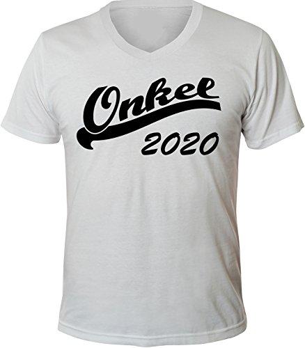 Mister Merchandise Herren Men V-Ausschnitt T-Shirt Onkel 2020 Tee Shirt Neck bedruckt Weiß