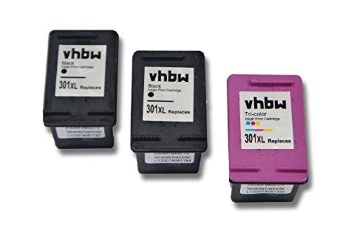 vhbw 3x kompatible Ersatz Tintenpatrone Druckerpatrone Set für Drucker HP Deskjet 2510, 2540, 2542 E-All-In-One