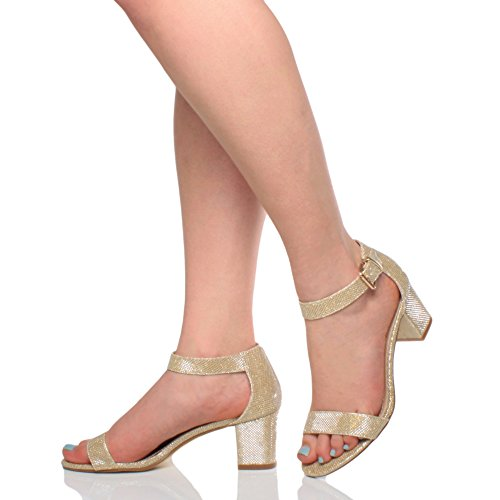 Femmes talon moyen sangle de cheville bout ouvert sandales à lanières pointure Or pailettes