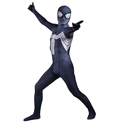 YIWANGO Venom Spider-Man Cosplay Body , Schwarz Superheld All Inclusive Kleid Onesies 3D-Druck Halloween Maskerade Spiderman Kostüm Anime,Adult-XXXL