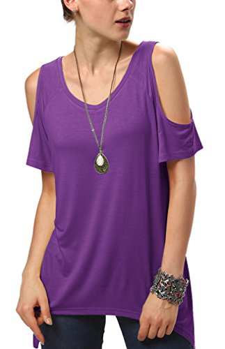 Urbancoco Damen Vogue Schulterfrei unregelmäßige sidetale Tunika Top Shirt (3XL, Violet) (Schnitt Damen Hand T-shirt)