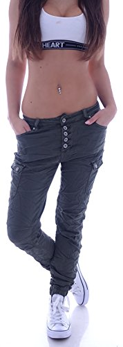 Damen Boyfriend Jeans Cargohose Cargo Hose Baggy Haremshose Chino XS 34 S 36 M 38 L 40 XL 42 (S 36) (L 40, Khaki)