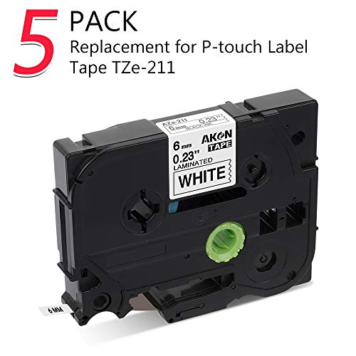 Kompatibel Brother P-touch Schriftband TZe-211 TZ-211 6mm schwarz auf weiß, kostengünstig Schriftbandkassette für Beschriftungsgerät Ptouch 100LB H105 E100 D200 D210, 5er-Packung