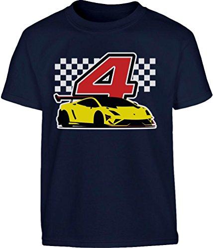 Geschenk für Jungs 4 Geburtstag mit Auto Kleinkind Kinder T-Shirt - Gr. 86-128 110 (4-5J) Marineblau (Geburtstag-kleinkind-t-shirt 5.)