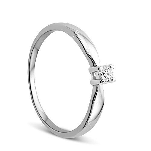Orovi Ring für Damen Verlobungsring Gold Solitärring Diamantring 9 Karat (375) Brillanten 0.10crt Weißgold Ring mit Diamanten