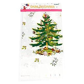 DENGHENG – Mantel rectangular de PVC, diseño de árbol de Navidad con muñeco de nieve