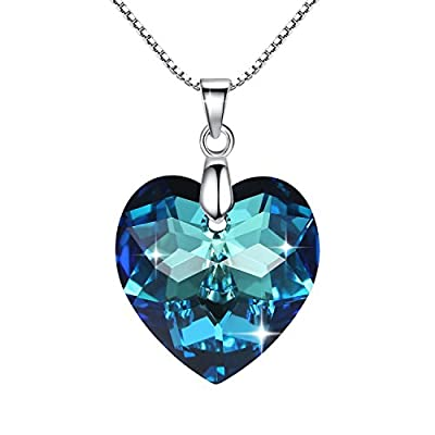 GoSparkling Pendant Necklace- Bermuda Blue Crystal Heart Shaped Sterling Silver Chain Women Necklace- Made of 100% Austrian Crystal- Classy And Elegant- A Stunning Jewel!- Perfect Gift! NL-68117