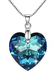 GoSparking Moonlight azul cristalino del corazón de la plata esterlina colgante, collar con el cristal austríaco para las mujeres