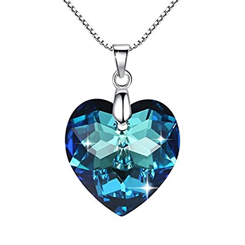 Zucel Heart 925 Sterling Silver Pendant Necklace with Bermuda Blue Crystals From Swarovski By GoSparkling