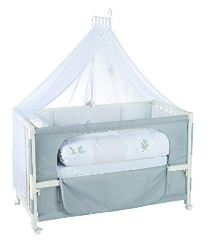 roba Beistellbett, Roombed, Babybett 60x120 cm'Fox & Bunny' grau, Anstellbett zum Elternbett mit kompletter Ausstattung