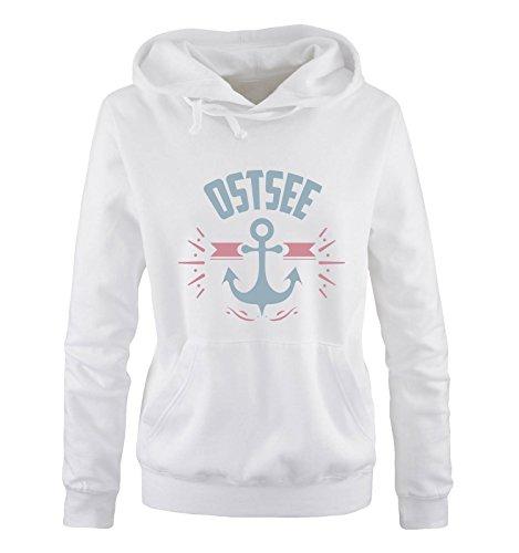 Comedy Shirts - OSTSEE - ANKER - Damen Hoodie - Weiss / Eisblau-Rosa Gr. L