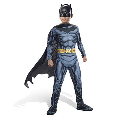 Batman DC Comics Kostüm Kinder 4-tlg, Overall mit Galoschen Gürtel Cape Maske - (Kostüm Comic Catwoman)
