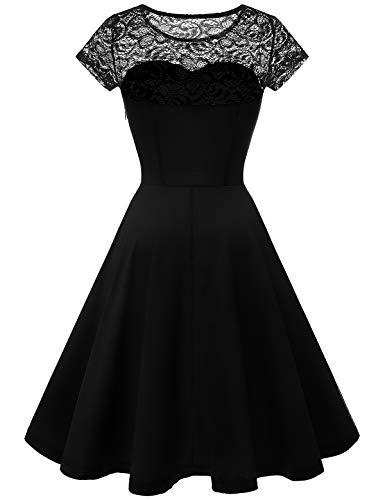 YOYAKER Damen Elagant Vintage Mit Spitzen Rundhals Kurzarm Cocktail Rockabilly Abendkleid Black XS - 2