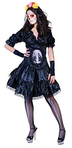 Karneval Klamotten Kostüm Tag der Toten Damen-kostüm Day of the Dead Halloween Dame Größe (Der Baby Toten Tag Kostüme)
