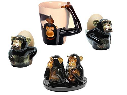 B2see LTD Keramik Tier/Affen Geschenk Tasse/Salz und Pfeffer-streuer/Eierbecher aus Keramik/Set Hand-gemacht 6 teilig (Lustige Affen-figuren)