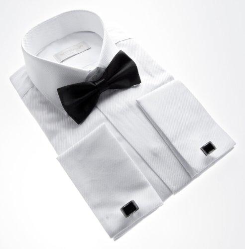 Slim Fit Smoking Hemd Schwarze Fliege verschiedene Farben Struktur New Kent Kragen Langarm Weiß
