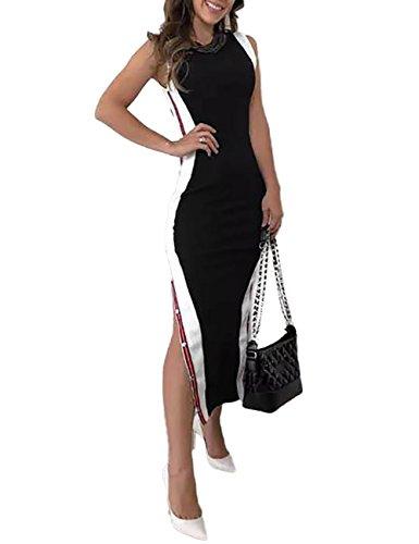 Boutiquefeel Damen Kontrast Farbe Button Split Side Bodycon Kleid Schwarz S (Kontrast Bodycon Kleid)