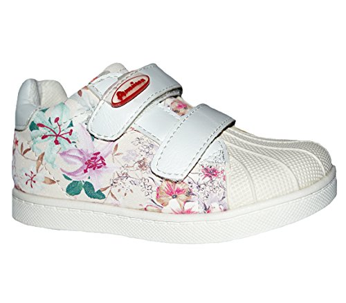 American Club Mädchen Sneaker Halbschuhe Klettverschluss Frühling Sommer Innensohle Leder Blumen Beige Weiß Beige