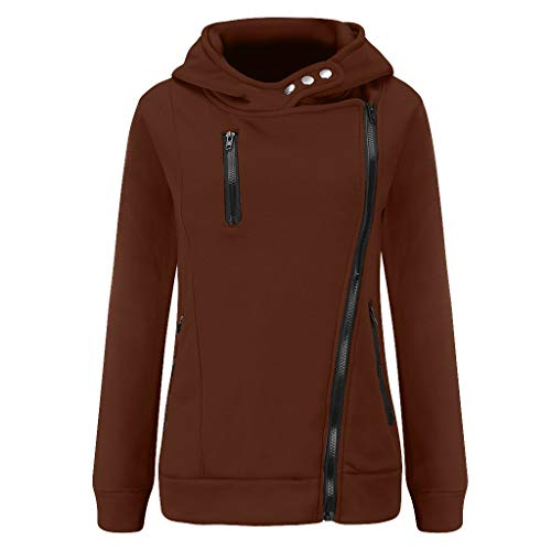 GOKOMO Jacke Damen Sweatjacke Hoodie Sweatshirtjacke Pullover Oberteile Kapuzenpullover Reißverschluss Herbst und Winter Warm(Kaffee,Large)