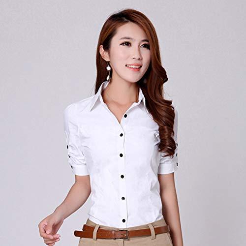 DAIDAINDX Art- Und Weisebürodame White Cotton Blouse S-3Xl Dekor Normallack-Frauen-Karriere-Dünne Hemden