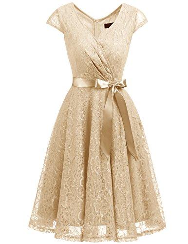 Dresstells Elegant Spitzenkleid Knielang V-Ausschnitt Brautjungfernkleid Cocktailkleid Abendkleider Champagne S