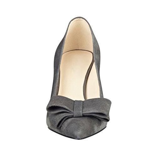Kolnoo 80mm Damen Suede Stiletto Spitzschuh Pumps mit Klassiche Bowknot Schuhe Grau