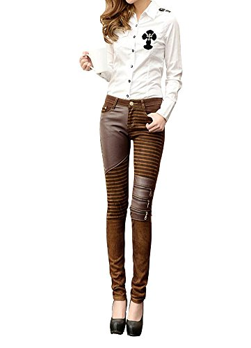 Tiny Time Damen Leder Thin Legging Strumpfhose Bleistift Hosen (28, Braun) (Leder Street Hose)